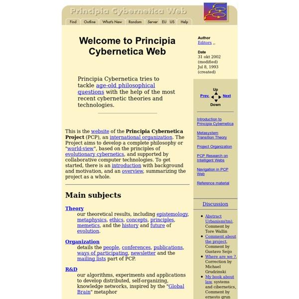 Welcome to Principia Cybernetica Web