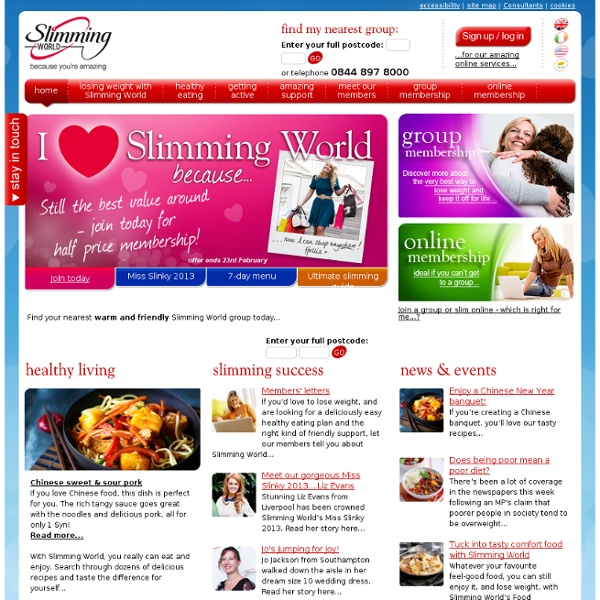 Welcome to slimming world the club with the big heart Slimming world website please