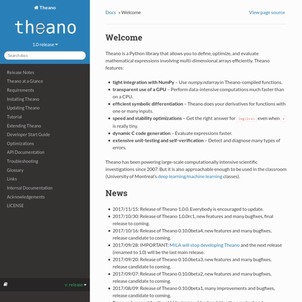Welcome — Theano 0.6 documentation