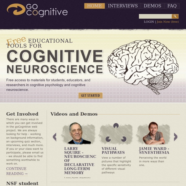 GoCognitive : free educational tools for cognitive neuroscience