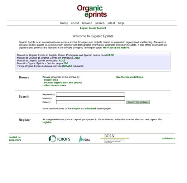 Organic Eprints - Welcome to Organic Eprints