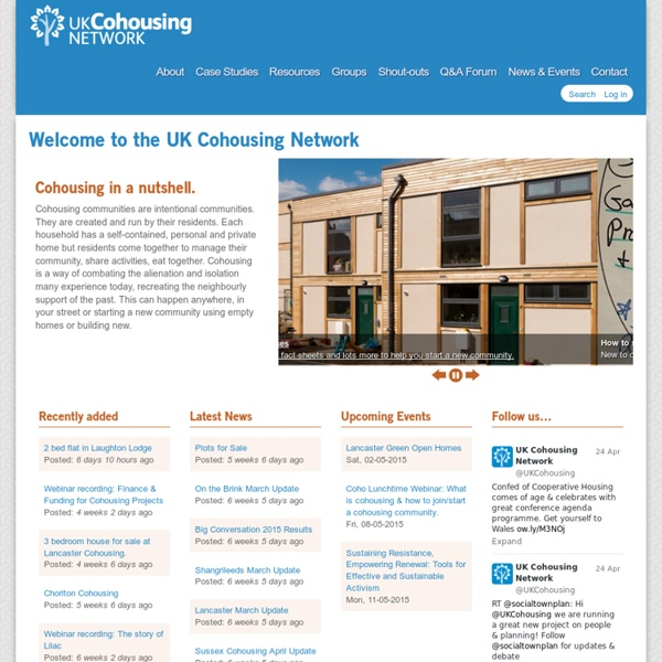 Welcome to the UK Cohousing Network