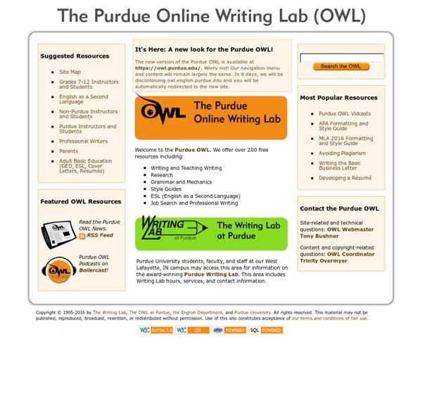 welcome to the purdue university online writing lab owl