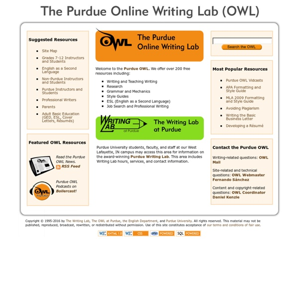 purdue owl essay writing The writing process (purdue owl) the highly regarded owl (online writing lab) at purdue university offers a large collection of online guides on writing that are updated regularly and cover a myriad of topics.