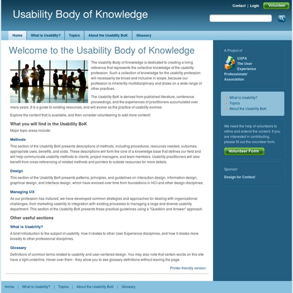 Welcome to the Usability Body of Knowledge
