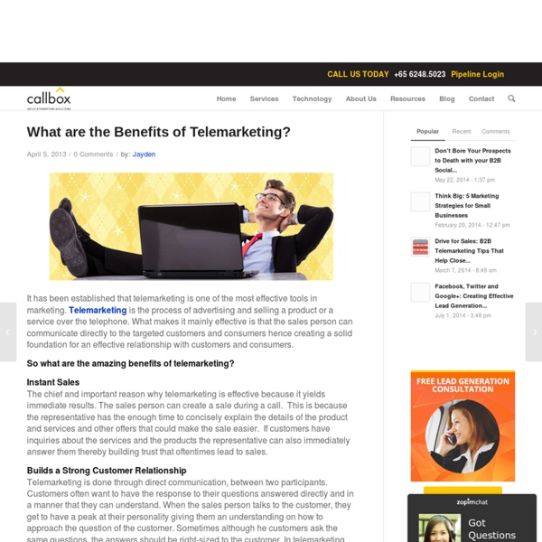 What are the Benefits of Telemarketing?