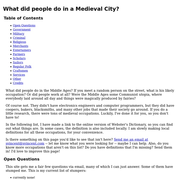 Medieval City Careers