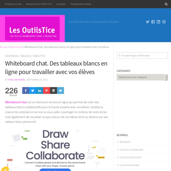 Whiteboard chat. Des tableaux blancs en ligne pour travailler avec vos élèves