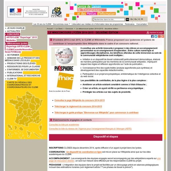 Le wikiconcours lycéen 2014-2015 - deuxième édition - - Concours