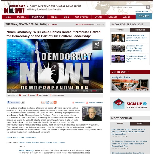 "Noam Chomsky: WikiLeaks Cables Reveal ""Profound Hatred for Democracy on the Part of Our Political Leadership"""