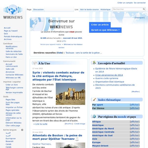 Wikinews : la source d'informations que vous pouvez écrire