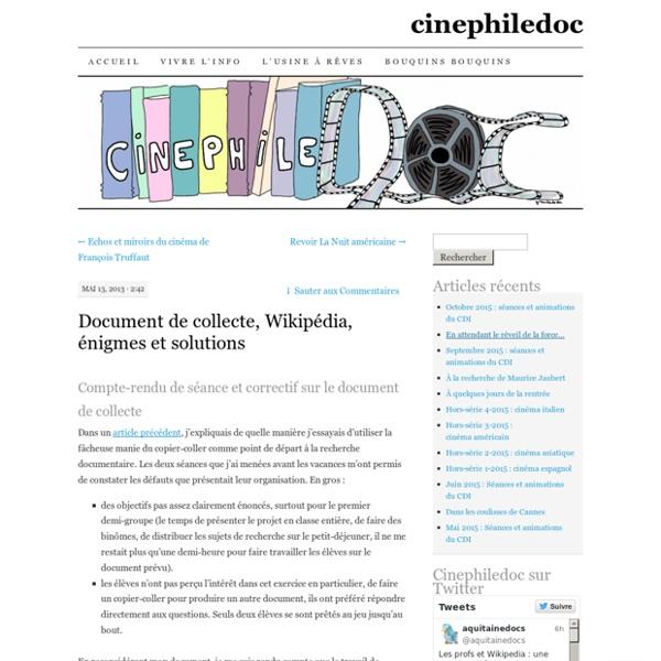 Document de collecte, Wikipédia, énigmes et solutions