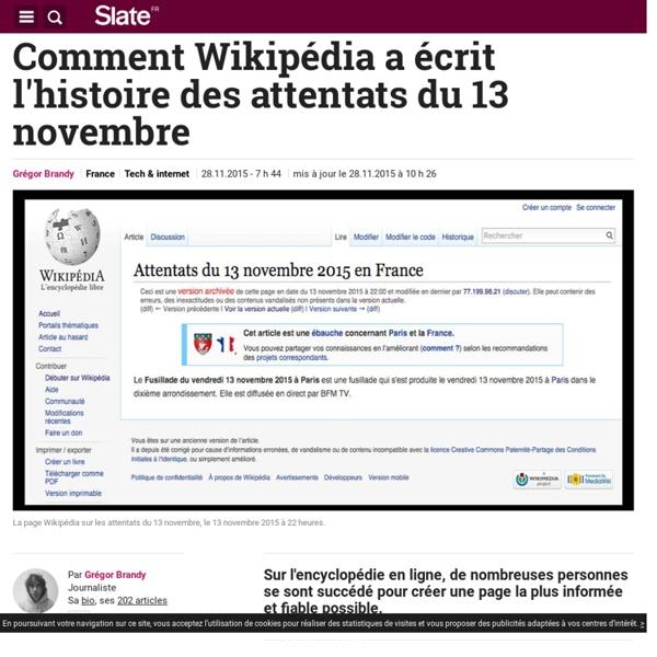 Comment Wikipédia a écrit l'histoire des attentats du 13 novembre
