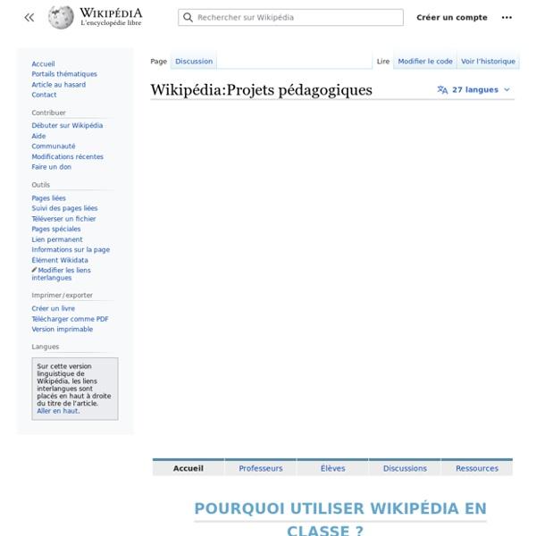 Wikipédia:Projets pédagogiques