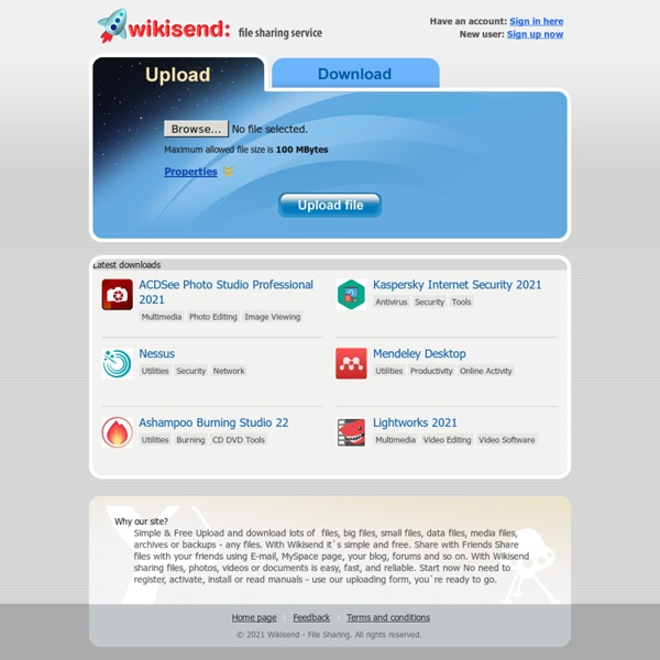 Wikisend: free file sharing service