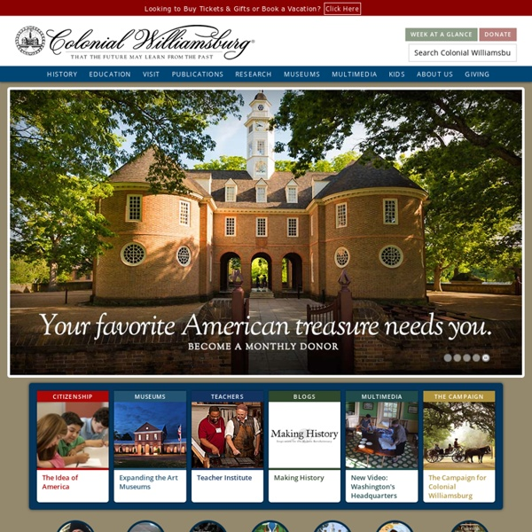 Colonial Williamsburg Multimedia - Games & Interactive Features