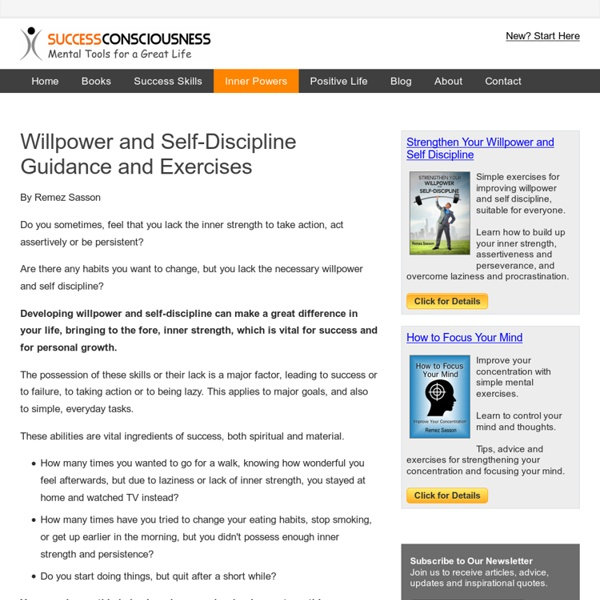 Willpower and Self Discipline Exercises and Guidance