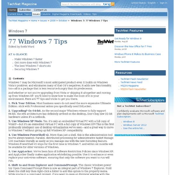 Windows 7: 77 Windows 7 Tips