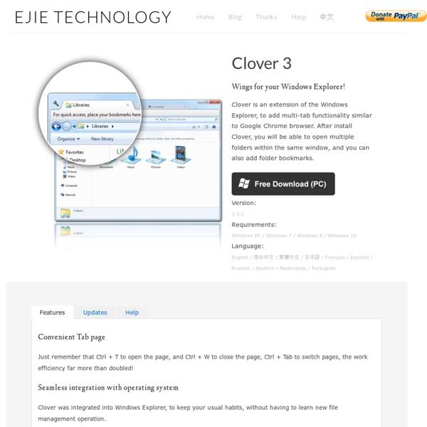 易捷科技 EJIE Technology. ( Clover Brings Chrome-Style Tabs to Windows Explorer )