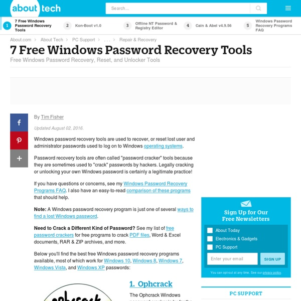 7 Free Windows Password Recovery Tools