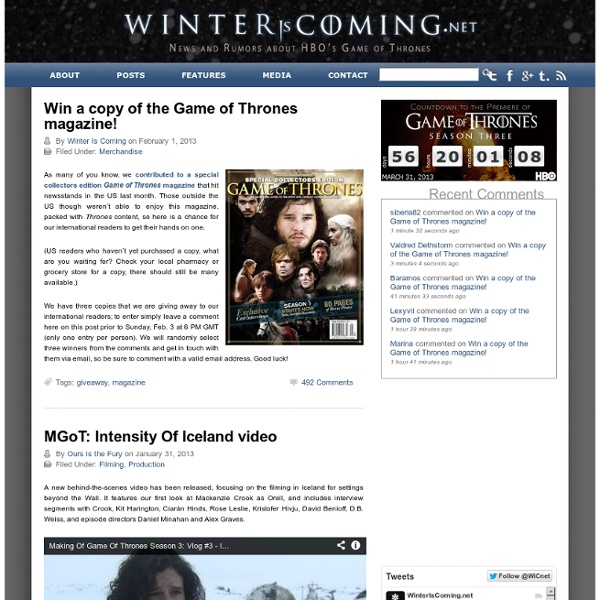 Winter Is Coming - News and rumors about HBO's Game of Thrones