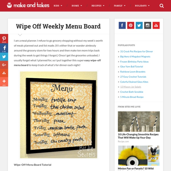 Wipe Off Weekly Menu Board