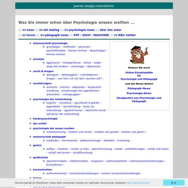 Was Sie immer schon über Psychologie wissen wollten ... Arbeitsblätter zur wissenschaftlichen Psychologie