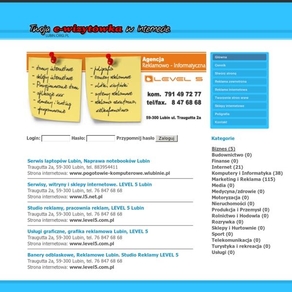 Lubin - promocje, reklama, media. Serwis wizytówek stolicy Polskiej miedzi. Wizytówki internetowe - www.level5.pl