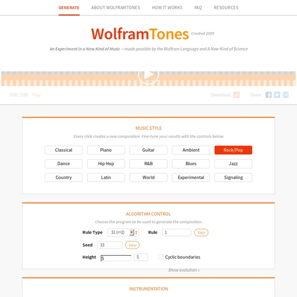 WolframTones: An Experiment in a New Kind of Music