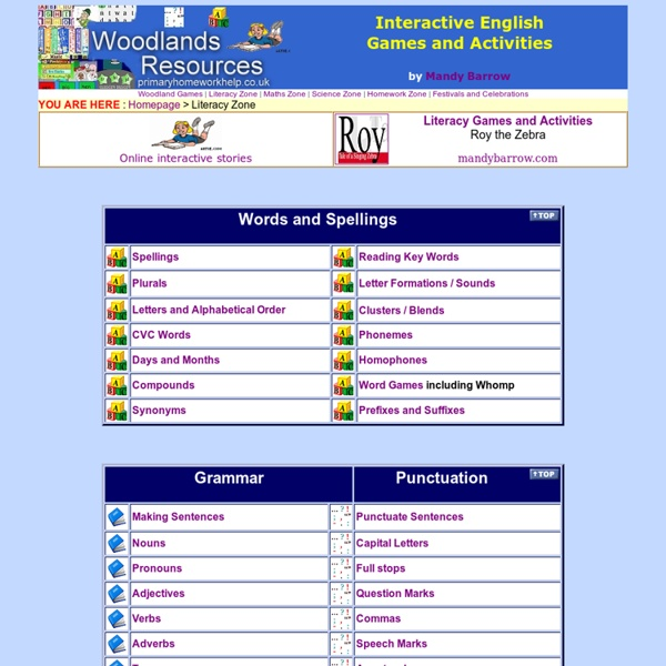 Woodlands Literacy Zone - Interactive English Games -