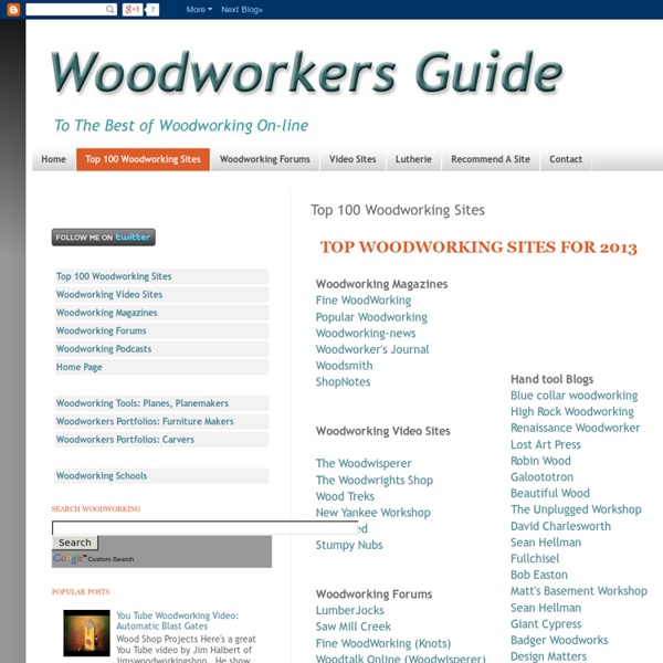 Woodworkers Guide: Top 100 Woodworking Sites