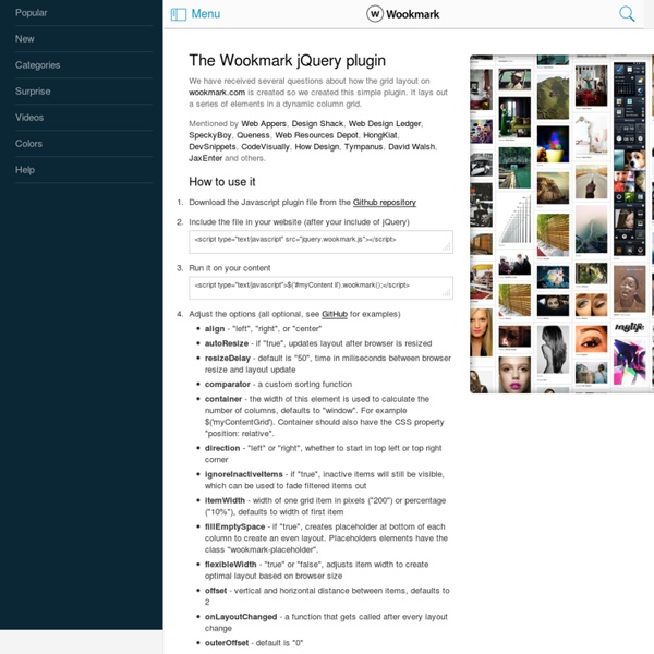 Wookmark jQuery Plugin | Pearltrees