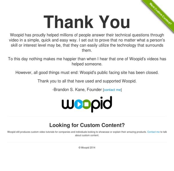 Woopid Video Tutorials