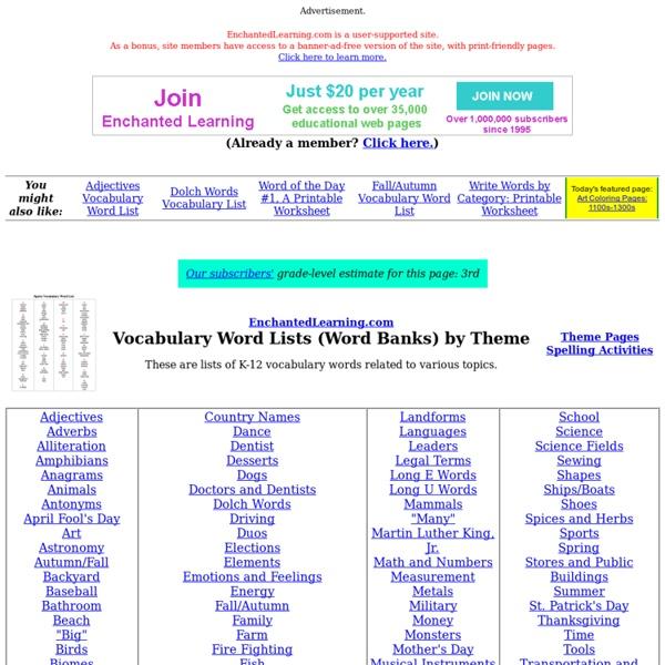 word lists by theme  wordbanks