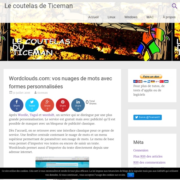 Wordclouds.com: vos nuages de mots avec formes personnalisées