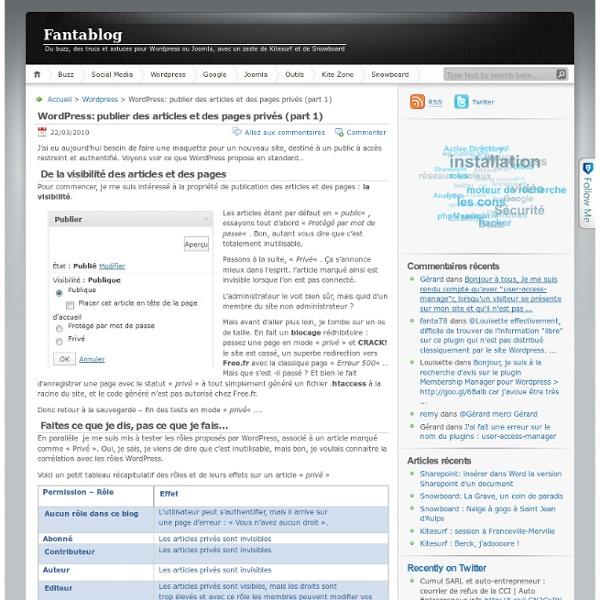 WordPress: publier des articles et des pages privés (part 1)