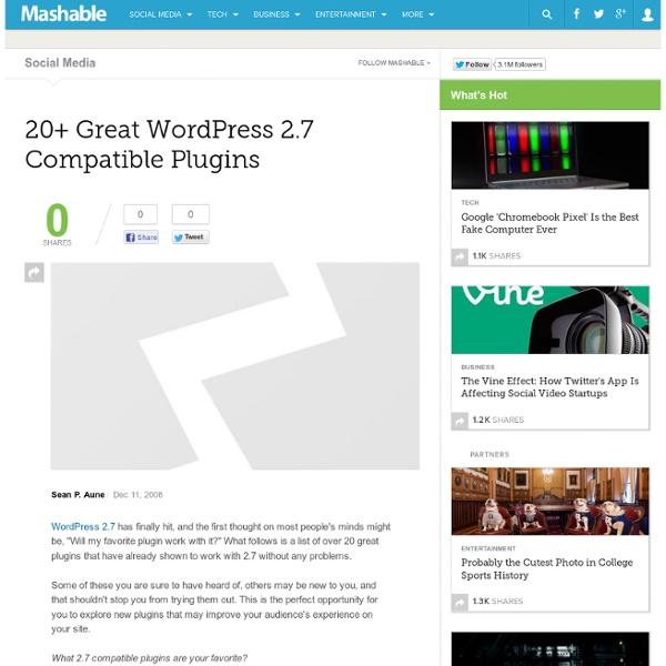 20+ Great WordPress 2.7 Compatible Plugins