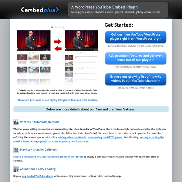 YouTube WordPress Embed Plugin - customize a video, playlist, channel, or gallery