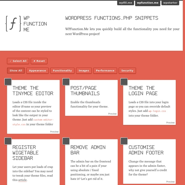 WordPress functions.php Snippets
