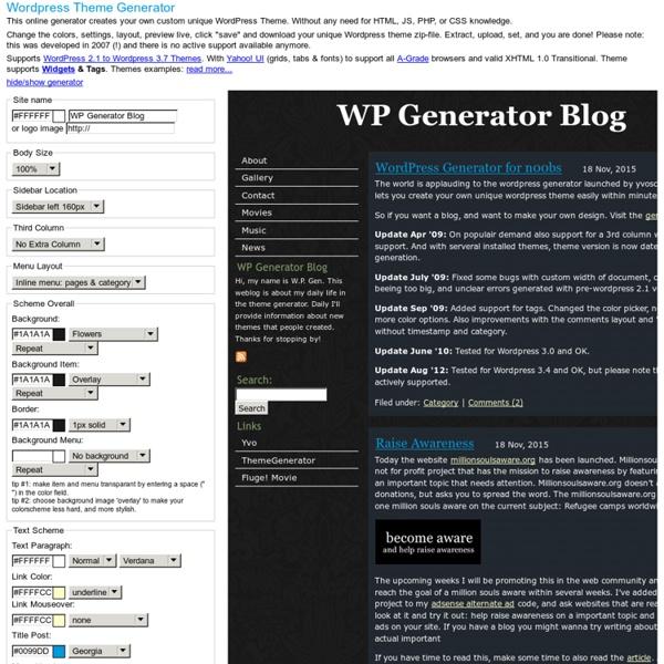 Wordpress Theme Generator - Create your own Wordpress Theme.