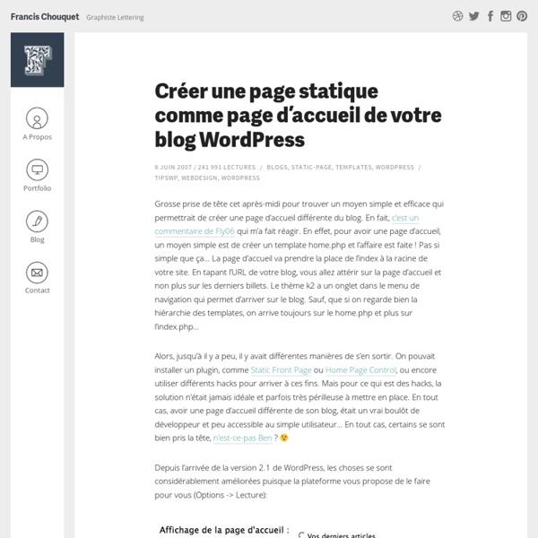 Créer une page statique comme page d'accueil de votre blog Wordpress