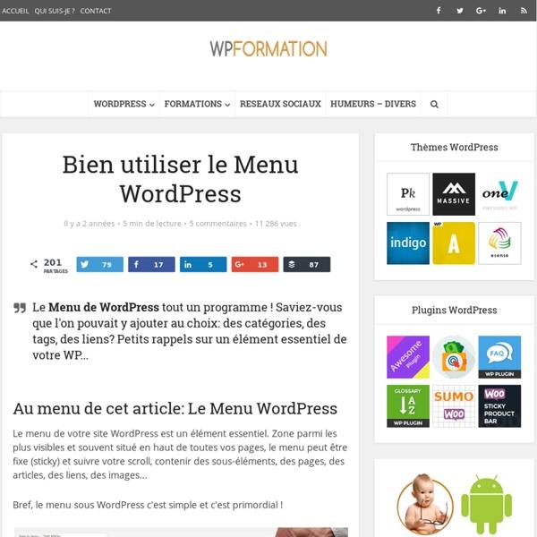 Menu WordPress : Rappels & Fondamentaux