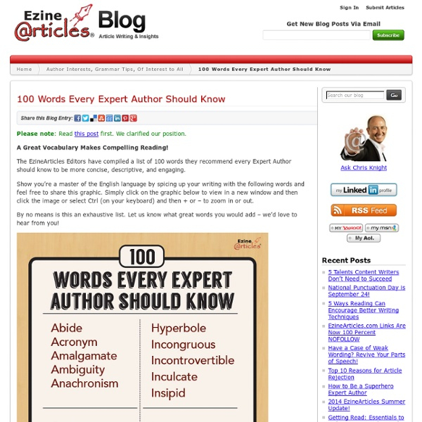 100 Words Every Expert Author Should Know