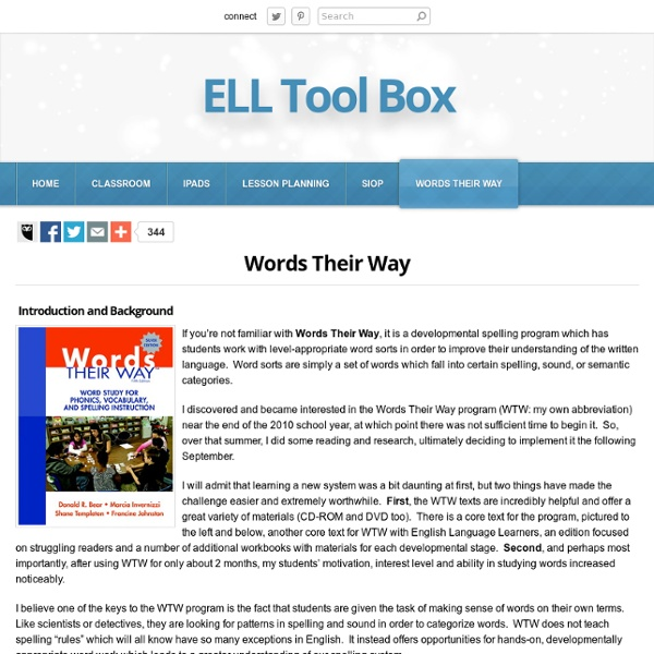 Words Their Way: Resources and Ideas - ELL Tool Box