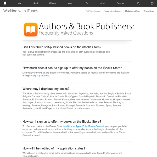 iTunes - Working with iTunes - Sell Your Content - Sell Your Books - Authors & Book Publishers: FAQs