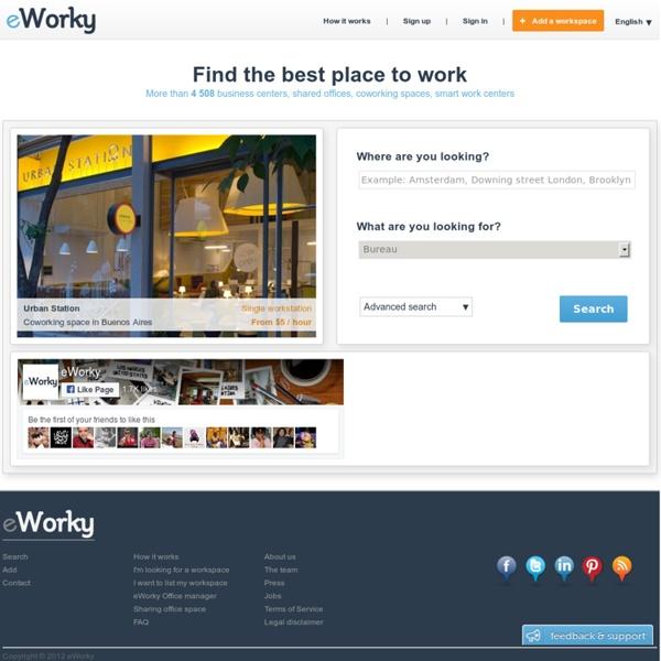 Coworking, cafés wifi, centres d'affaires, location et réservation de salles de réunion et de bureaux