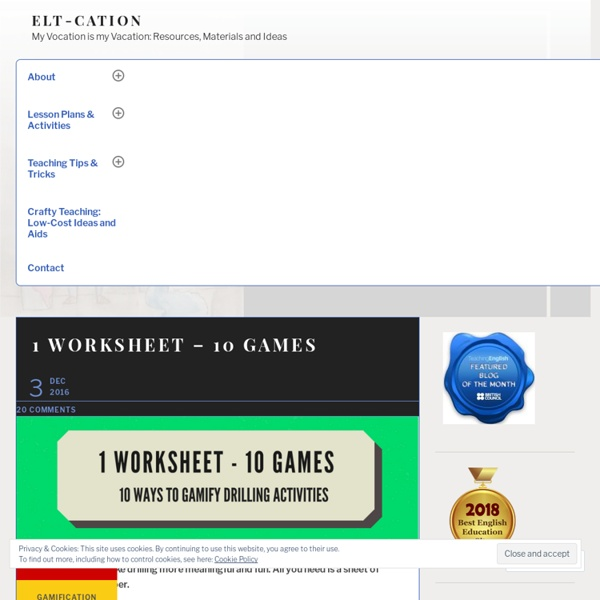 1 WORKSHEET – 10 GAMES