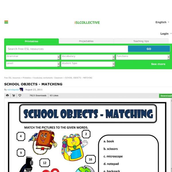 SCHOOL OBJECTS - MATCHING worksheet