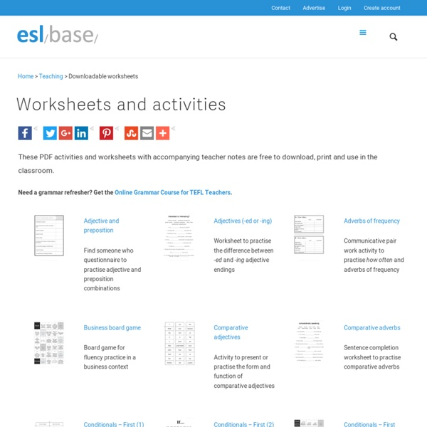 ESL worksheets and activities to download