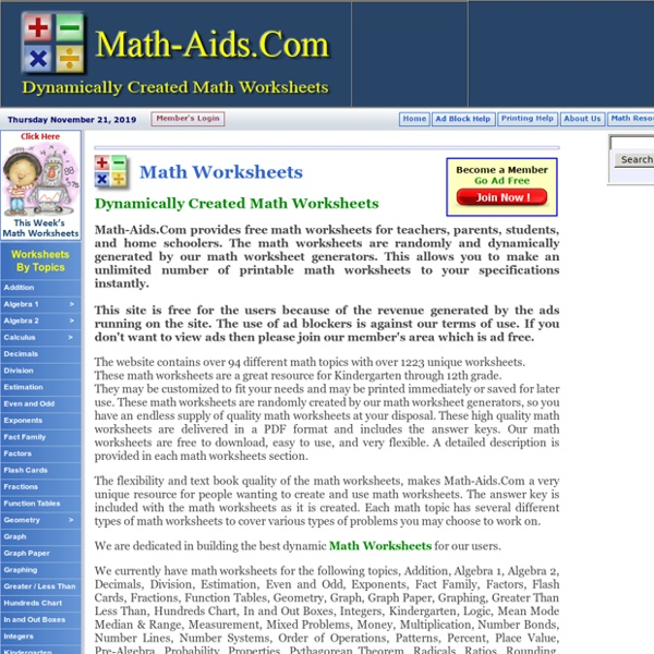 Dynamically Created Math Worksheets – Create Math Worksheets Online